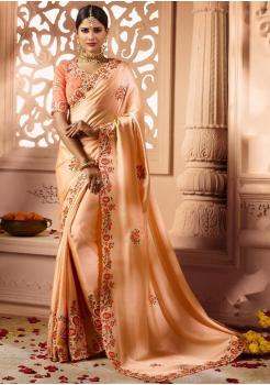 Cantaloupe Color Designer Silk  Saree