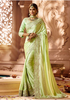 Light Yellowish Green Color Designer Silk  Saree