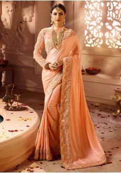 Salmon Pink Color Designer Silk  Saree