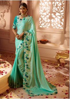 Light Sky Blue Color Designer Silk  Saree