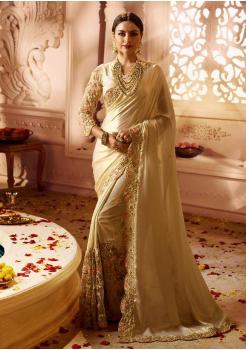 Cream Color Designer Silk  Saree