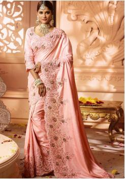 Flamingo Color Designer Silk  Saree