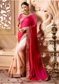 Rani with Off White Color Designer Silk  Saree
