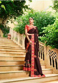 Brown Color Designer Silk Saree