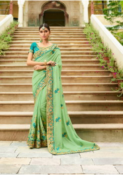 Seafoam Green Color Designer Silk Saree