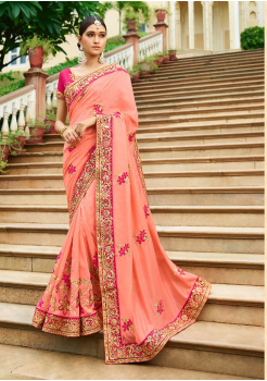 Peach with Pink Color Designer Silk Saree