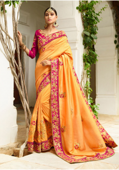 Mango Yellow Color Designer Silk Saree