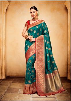 Rama Green with Red Color Designer Silk Jacquard Saree