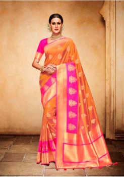 Orange with Rani Color Designer Silk Jacquard Saree