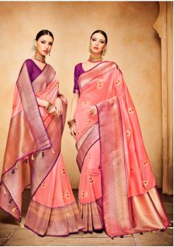 Peach with Wine Red Color Designer Silk Jacquard Saree
