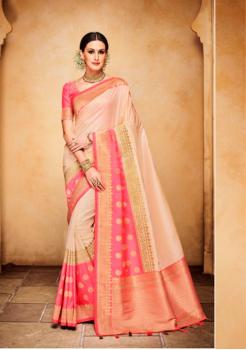 Beige with Rani Color Designer Silk Jacquard Saree