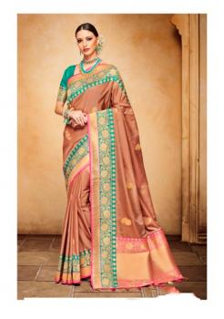 Brown with Rama Green Color Designer Silk Jacquard Saree