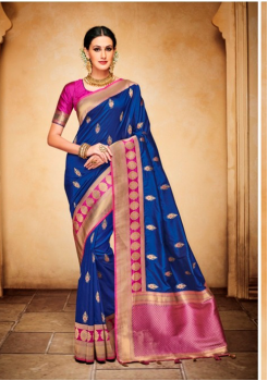 Navy Blue with Magenta Color Designer Silk Jacquard Saree