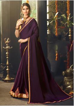 Wine Color Designer Silk  Saree