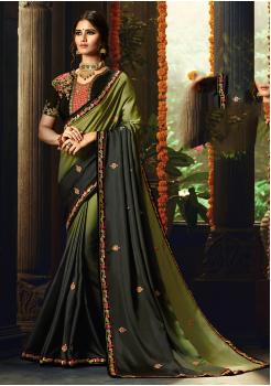 Black with Green Color Designer Silk  Saree