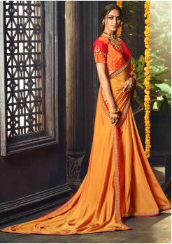 Orange with Mango Yellow Color Designer Silk  Saree