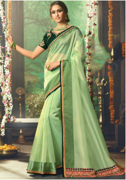 Light Green Color Designer Silk  Saree