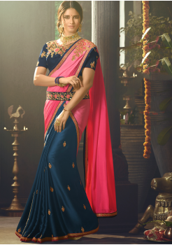 Denim with Pink Color Designer Silk  Saree
