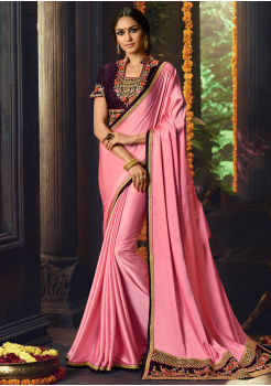 Pink with Grapes Color Designer Silk  Saree