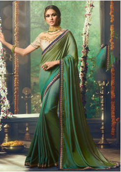 Green with Blue Color Designer Silk  Saree