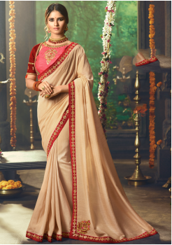 Cream with Red  Color Designer Silk  Saree