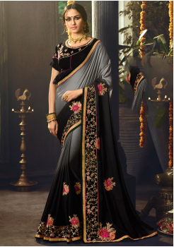 Grey with Black Color Designer Silk  Saree