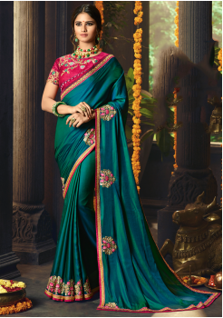 Peacock Blue with Pink Color Designer Silk  Saree