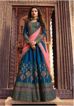 Azure Blue Color Designer Silk Lehenga Choli