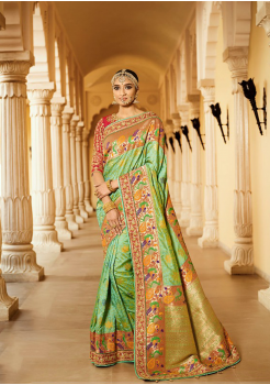 Green with Multi Color Designer Saree