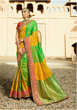 Yellow with Green/red Color Designer Saree