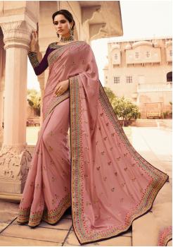 Rouge Pink Color Heavy Silk Designer  Saree
