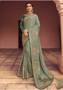 Teal Blue with Green Color Heavy Silk Designer  Saree
