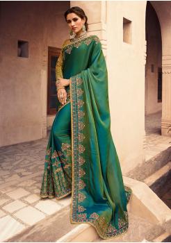 Peacock Green Color Heavy Silk Designer  Saree