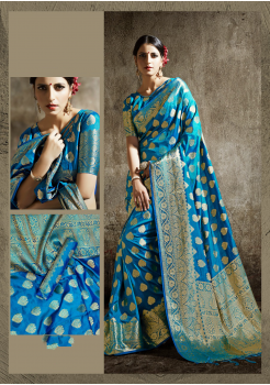 Azure Blue Color Designer Silk  Saree