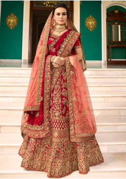 Ruby Red Color Designer Satin Silk Lehenga Choli