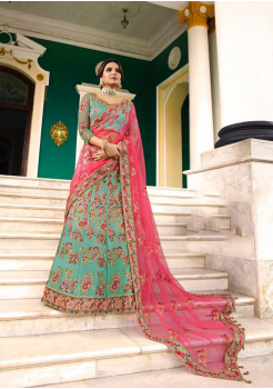 Sky Blue with Light Pink Color Designer Satin Silk Lehenga Choli