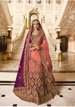 Rose with Indigo blue Color Designer Satin Silk Lehenga Choli