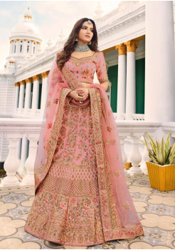 Rose Color Designer Satin Silk Lehenga Choli