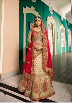 Off White with Red Color Designer Satin Silk Lehenga Choli