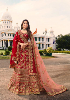 Red Color Designer Satin Silk Lehenga Choli
