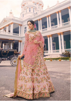 Flamingo Pink Color Designer Satin Silk Lehenga Choli