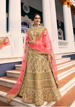 Cream Color Designer Satin Silk Lehenga Choli