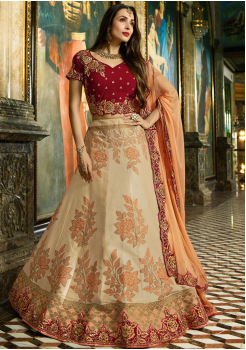 Cream with Maroon Color Designer Jacquard Lehenga Choli