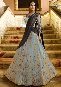 Powder Blue Color Designer Jacquard Lehenga Choli