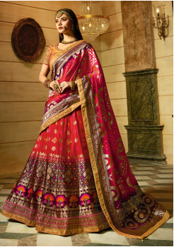 Dark Pink with Magenta Color Designer Jacquard Lehenga Choli