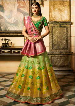 Green with Yellow Color Designer Jacquard Lehenga Choli