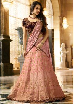 Pink Color Designer Jacquard Lehenga Choli