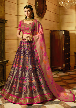 Pink with Majanta Color Designer Jacquard Lehenga Choli