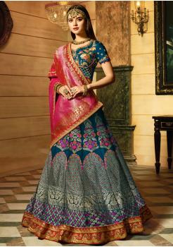 Sapphire Blue Color Designer Jacquard Lehenga Choli