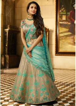 Sea Green and Gold Color Designer Jacquard Lehenga Choli